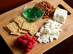 "Cheese board idea: Extra Aged Goat Cheese Pairing. ""Mint jelly, raspberries and candied pecans complement the savory, caramel notes of this balanced, mild cheese."" Master Cheesemaker Pam Hodgson"