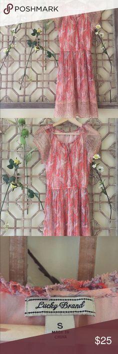 Light chiffon dress Very feminine light pastel chiffon dress form Lucky brand Lucky Brand Dresses Midi