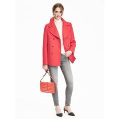 Banana Republic Melton Wool Classic Peacoat ($188) ❤ liked on Polyvore featuring outerwear, coats, banana republic coat, wool melton peacoat, melton coat, white peacoat and peacoat coat