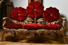 love the red flower pillows, the sofa, not so much Victorian Furniture, Funky Furniture, Unique Furniture, Luxury Furniture, Furniture Decor, Furniture Design, Sofa Design, Interior Design, Luxury Dining Room