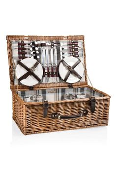 The Newbury is a suitcase-style picnic basket with service for four and plenty of charm to spare. With a fully-lined interior, the Newbury has a hinged, flat lid design with closure straps and includes lunch service for four, including plates, glasses and flatware. Components: 1 Willow picnic basket. 4 each: 4-oz. wine glasses, ceramic plates. Stainless steel utensils including forks, knives, and spoons with PS plastic handles. 1 stainless steel waiter-style corkscrew with PS plastic handle…