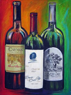 Wine Bottles painting- Print on canvas - Opus One, Silver Oak and Caymus of Napa Valley