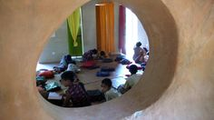 View of a classroom of the School at Rudrapur, Bangladesh, AKAA recipient-2007. Built using traditional materials.