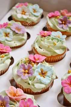 Cupcakes with the little pansies
