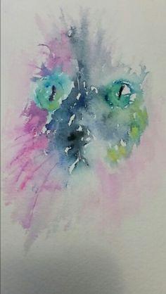 """A grumpy cat"". Inspired by Jean Haines. Malika Artwork"