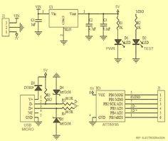 Circuit Diagram of the ATtiny85 USB Mini Development Board
