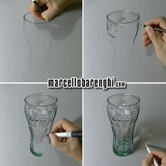 Hyperrealistic drawing of a Coca-Cola green glass, mixed media on gray paper by Marcello Barenghi.