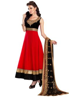 Red anarkali suit embellished in thread and zardosi embroidery