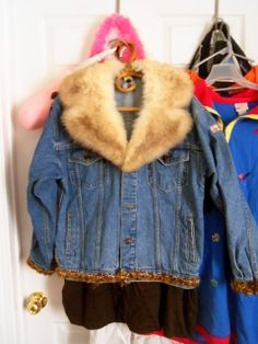 Items similar to Upcycled M & M Jean Jacket - Flux Fur Collar - Removable - Furry -Decals - Yellow - Buttons on Etsy Denim Jackets, Fur Collars, Upcycle, Couture, Trending Outfits, Board, Projects, Crafts, Etsy