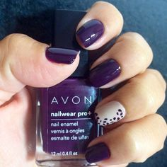 We're celebrating fall with a plum #mani and a fierce accent nail! Shop and buy Avon nail products online at http://www.youravon.com/jennyhollenbeck