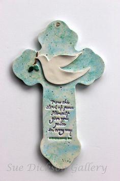 Hanging Wall Dove Scripture Ceramic Clay Cross