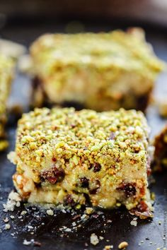Easy No Bake Dessert Bars w/ Dates, honey and nuts! Dates stuffed with walnuts and topped with a honeyed buttery cookie and pistachios! Best part, ready in 20 minutes   The Mediterranean Dish