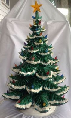vintage ceramic Christmas tree with lights 11 inches by brixiana ...