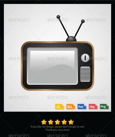 Old Television Vector  #GraphicRiver         Old Television Vector Features:    High-Quality Colorful Vector Images.   Color mode: CMYK.   Adobe Illustrator CS 4 and above.   Clean & Modern Style.   Multiple Use for Any Digital Design Projects.   100% Editable and Resizable.   FREE future updates.   Available in PNG,JPG, PSD, AI & EPS.   If you need any help please to let me know, I will help you as best as I can. Please don't forget to rate, Thank you. 	 keywords: old, retro, vintage…