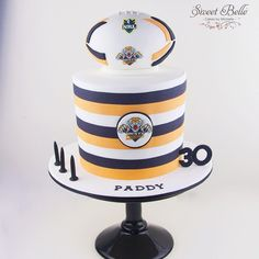 NRL cake for Paddy's 30th birthday over the weekend. Handmade football cake topper - completely ...