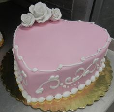 Pink and white fondant heart cake