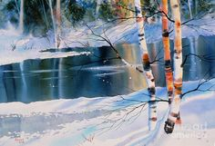 Birch By Campbell Creek Painting  - Birch By Campbell Creek Fine Art Print