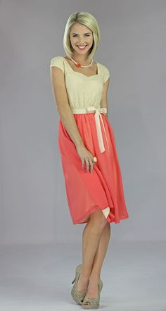 Coral and cream lace modest dress. Only $64.99 http://www.jenclothing.com/mi-mds002-julia-coral.html