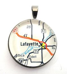 Road Map Pendant of Lafayette Indiana from by CarpeDiemHandmade, $10.00
