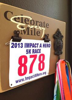 Could I make this?  Yep!! Marathon medal holder and Running Race bib Holder - Celebrate Every Mile - Nutmeg on Etsy, $39.99