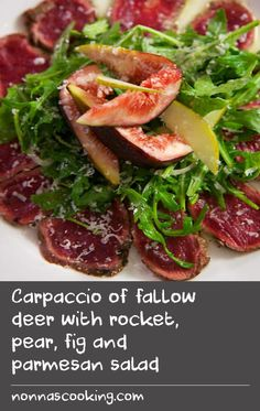 "Carpaccio of fallow deer with rocket, pear, fig and parmesan salad | Jeremy's take on venison carpaccio leaves the meat raw inside, giving it a tender texture. This version of carpaccio is complimented by a fresh, simple salad. ""Carpaccio is always an interesting dish to match wine with. On the one hand, you have the rich, meaty character, but, on the other, you have the delicacy of paper thin slices and the accompaniments. I think rosé is a pretty versatile option, but it's perhaps a bit…"