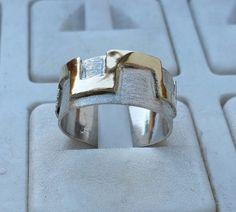 925 sterling zilver en 14 K Goud Band Wedding Ring Handgemaakte Artisan Eerlijk Ambacht Vrouwen Bruid Maat 8 Koop gratis verzending