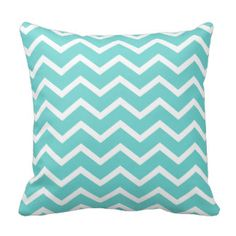 Aqua Pillow in Classic Chevron