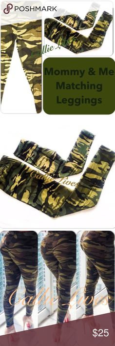 """Mommy Me Leggings Camo Green Army Set Plus Size TC Women's: Plus One Size 1X-3X Waist 14""""  Hips 22"""" Length 38"""" Inseam 30"""" These leggings should fit a Waist 36""""-46"""" and Hips 40""""-54"""".  I'm wearing the This size in the photos. My waist is 30"""" and my hips are 42"""".  I weigh 155 lbs at 5'6"""". Girl's: Small These leggings should fit a SMALL-SIZED CHILD with a waist 18""""-26.""""  Girl's: Medium These leggings should fit a MEDIUM-SIZED CHILD with a waist 19""""-28.""""  Girl's: Large These leggings should fit…"""