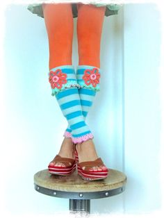 STRIPED FLOWER GIRL leg warmers Blue Boho Hippie sweater by GPyoga
