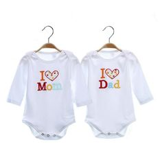 2PC Heart Love Short or Long Sleeve Baby Boy/ Baby Girl Onesies