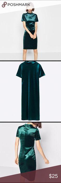 Zara green velvet dress Zara Trafaluc  Green velvet midi dress  Size small  New with tags Zara Dresses Midi