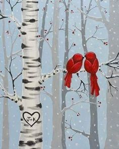 """""""Together in the Trees"""" Approx. 2 1/2 to 3 hours to complete this serene wintry scene with a pair of cardinals and a soft snow."""