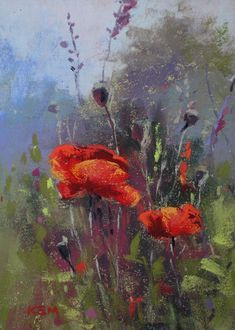 Early Morning Poppies Painting by Karen Margulis Pastel Drawing, Painting & Drawing, Watercolor Paintings, Pastel Artwork, Chalk Pastels, Watercolor Flowers, Poppies Art, Poppies Painting, Red Poppies