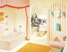 "Midcentury Modern Bathroom from ""Bathroom Decor Ideas: Midcentury Modern"" Bathroom Shelf Decor, Boho Bathroom, Bath Decor, Modern Bathroom, Bathroom Ideas, Big Bathrooms, Vintage Bathrooms, Vintage Room, Vintage Home Decor"