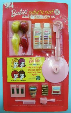 Vtg Barbie Dolls Color N' Curl Set Wig Ponytail Head 1965 NIP VHTF NRFB