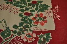 Vintage Floral tablecloth with Poppies by IslandMarket on Etsy