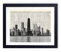 Chicago Skyline 2 Upcycled Dictionary Art Print by RetroBookArt