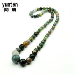 Yumten Nature Kolye Bayan Agate Gemstone Charms Healing Crystals Necklace Sieraden Round Crystals Chain Stone Collares Women