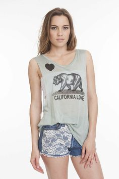 Cali Lovin' $42.00 #california #love #bear #tank #tee #hearts #fashion