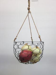 hand-made wire basket = annealed steel wire + heavy jute