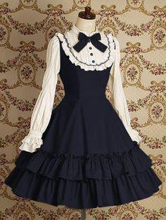 Blue Long Sleeves Lace Cotton Classic Lolita Dress