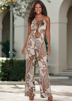 %PC% Printed jumpsuit, platform sandal from VENUS