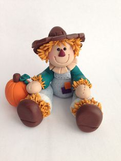 Cute Clay Scarecrow - Scarecrow Figurine - Fall Decor