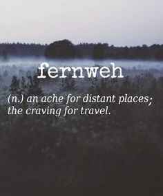 Fernweh [German] ~ (n.) an ache for distant places; the craving for travel. ✈
