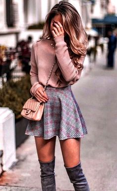 Pastel pink knit sweater, skater skirt and over the knee boots outfit for fall. … Pastel pink knit sweater, skater skirt and over the knee boots outfit for fall. Same sweater in link! Cute Skirt Outfits, Winter Skirt Outfit, Girly Outfits, Mode Outfits, Skater Skirt Outfits, Skater Skirt Winter, Skater Skirt Outfit For Summer, Outfit With Skirt, School Skirt Outfits
