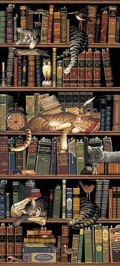 Classic Tails Library Books Cats Tapestry Wall Hanging -- Classic Tails by Charles Wysocki I Love Cats, Crazy Cats, Library Books, Library Shelves, Bookshelves, Grand Library, Book Nooks, Tapestry Wall Hanging, Wall Hangings