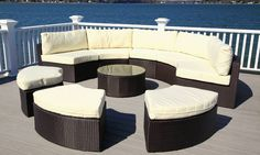 The Santorini is made of all-weather wicker, a truly weather resistant material for outdoor furniture