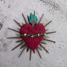 Sacred Heart Found Object Sculpture Gift of LOVE by ScavengedArt