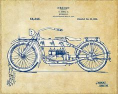 Vintage Harley-Davidson Motorcycle 1919 Patent Artwork by Nikki Smith. Looking for the perfect gift for the man in your life?  Check out this series of fine art prints celebrating the inventive spirit.  Available in blueprint style, too.