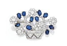 Platinum, Diamond and Sapphire Jardiniere Brooch, Trabert & Hoeffer-Mauboussin